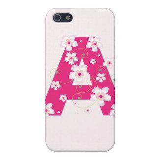 Caso floral bonito del iphone 4 de la inicial A de iPhone 5 Cárcasas