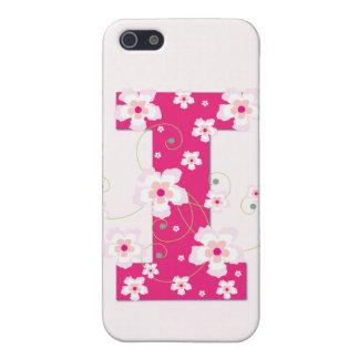 Caso floral bonito del iphone 4 de la inicial I de iPhone 5 Cárcasa