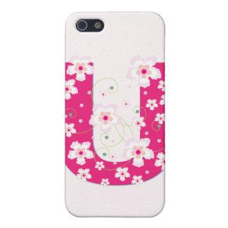 Caso floral bonito inicial del iphone 4 del monogr iPhone 5 protector