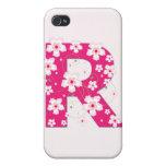 Caso floral bonito inicial del iphone 4 del monogr iPhone 4/4S carcasas
