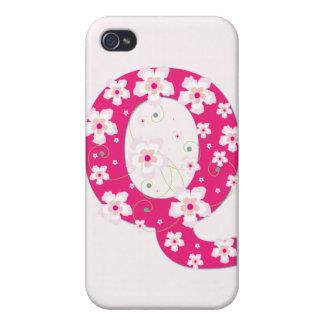 Caso floral bonito inicial del iphone 4 del monogr iPhone 4 protectores
