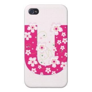 Caso floral bonito inicial del iphone 4 del monogr iPhone 4 protector