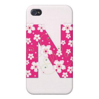 Caso floral bonito inicial del iphone 4 del monogr iPhone 4 fundas