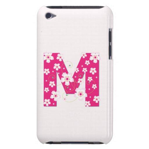 Caso floral bonito inicial del monograma M iPod 4G iPod Touch Coberturas