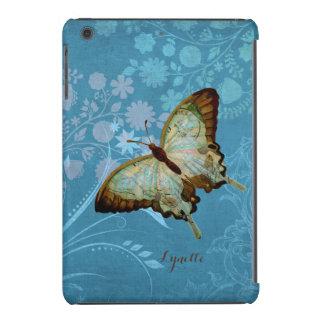 Caso floral de la mariposa del Flourish de lino Funda De iPad Mini