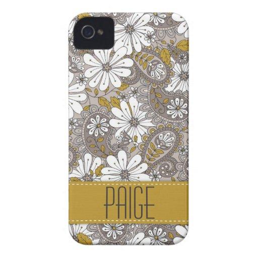 Caso floral decorativo del iPhone 4 de Paisley iPhone 4 Protectores