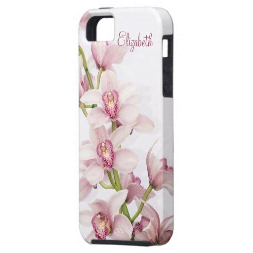 Caso floral del ambiente del iPhone 5 de la orquíd iPhone 5 Cárcasas