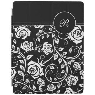 Caso floral del iPad del damasco del monograma