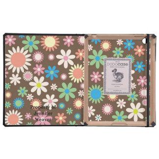 Caso floral del iPad del DODO del tono de la tierr