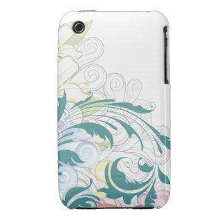Caso floral del iPhone 3gs de los remolinos iPhone 3 Funda