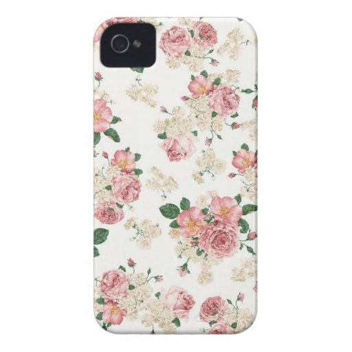 Caso floral del iPhone 4/4S del vintage blanco y r iPhone 4 Case-Mate Cobertura
