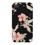Caso floral del iPhone 4/4s del vintage negro y ro iPhone 4 Cárcasa