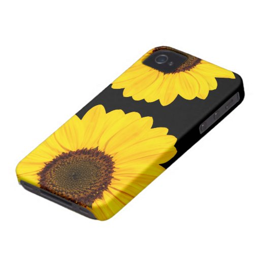 Caso floral del iPhone 4 de los girasoles amarillo iPhone 4 Case-Mate Cobertura