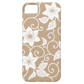 Caso floral del iPhone 5 de Brown del camello iPhone 5 Cobertura