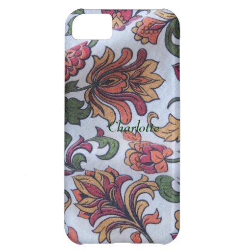 caso floral del iphone 5 de la tela del vintage ap funda para iPhone 5C