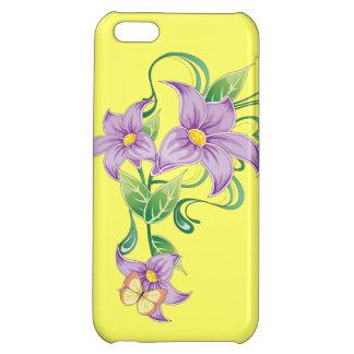 Caso floral del iPhone 5 del amarillo de la maripo