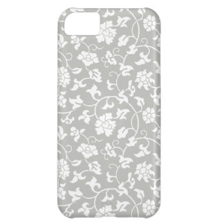 Caso floral del iPhone 5 del damasco de los gris p