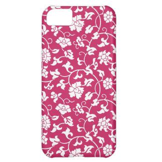 Caso floral del iPhone 5 del damasco del vino de Funda Para iPhone 5C