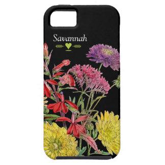 Caso floral del iphone 5 del negro del crisantemo iPhone 5 funda