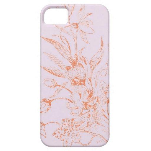 caso floral del iphone 5 del vintage rosado y rojo iPhone 5 funda