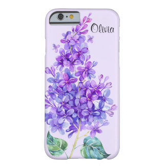 Caso floral del iPhone 6 de la lila púrpura Funda Para iPhone 6 Barely There
