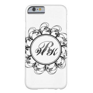 Caso floral del iPhone 6 del monograma en blanco Funda De iPhone 6 Barely There