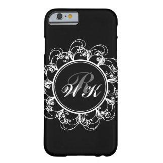 Caso floral del iPhone 6 del monograma en negro Funda Para iPhone 6 Barely There