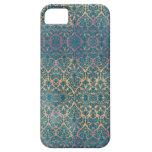 Caso floral del iPhone del Grunge del damasco azul iPhone 5 Fundas