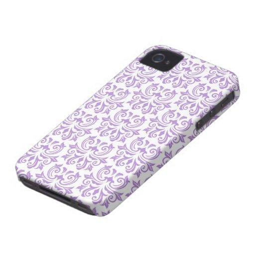 Caso floral del modelo del damasco del vintage púr iPhone 4 Case-Mate carcasas