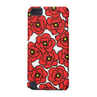 Caso floral del tacto de iPod de las amapolas roja
