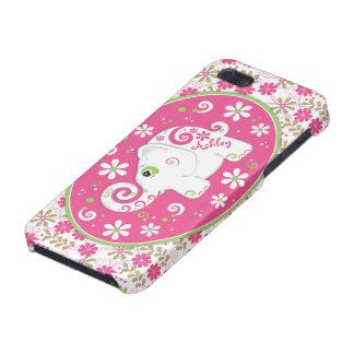 Caso floral iPhone5 del elefante de lujo verde ros iPhone 5 Carcasas