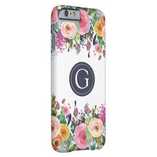 Caso floral pintado de Iphone 6 del monograma Funda Barely There iPhone 6