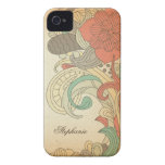 Caso floral rojo marrón del iphone 4 de los remoli Case-Mate iPhone 4 coberturas