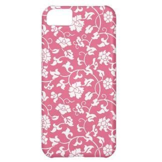 Caso floral rosado del iPhone 5 del damasco de la