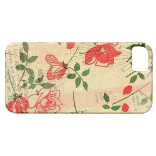 Caso floral rosado del iPhone 5 del vintage Funda Para iPhone SE/5/5s