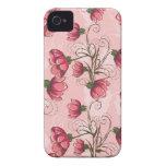 Caso floral rosado femenino del iPhone 4s iPhone 4 Case-Mate Cárcasa
