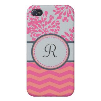 Caso floral y de las rayas del monograma de la mot iPhone 4 fundas