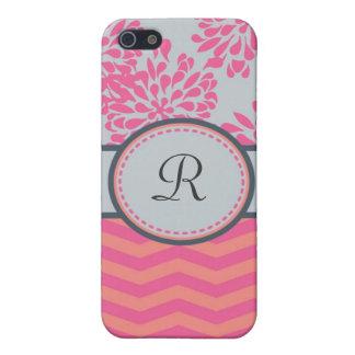 Caso floral y de las rayas del monograma de la mot iPhone 5 funda