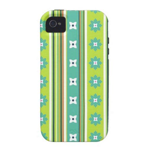 Caso florido del iPhone del verde de la raya iPhone 4 Funda