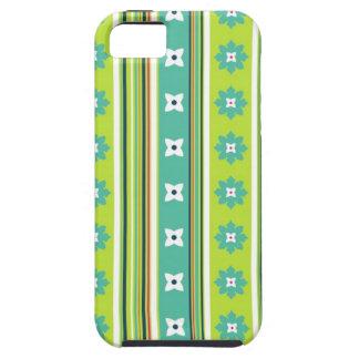 Caso florido del iPhone del verde de la raya iPhone 5 Funda