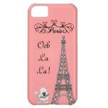 Caso francés de IPhone 5 del caniche de París de O Carcasa Para iPhone 5C