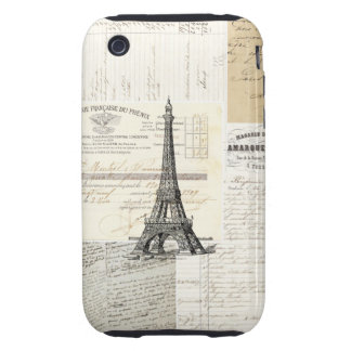 Caso francés de las Ephemeras de París del vintage Tough iPhone 3 Protectores