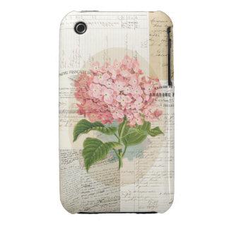 Caso francés de las Ephemeras del Hydrangea rosado Case-Mate iPhone 3 Carcasas