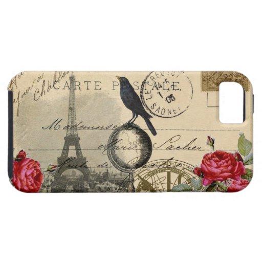Caso francés de los rosas de la postal del globo d iPhone 5 protectores