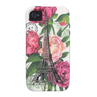 Caso francés de los rosas de la torre Eiffel Case-Mate iPhone 4 Funda