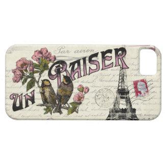 Caso francés del iPhone del amor del vintage iPhone 5 Case-Mate Carcasa