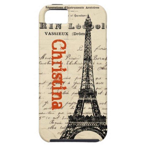 Caso francés del iPhone del vintage de la torre iPhone 5 Carcasa