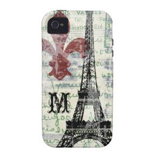 Caso francés del iPhone del vintage de la torre iPhone 4 Carcasas