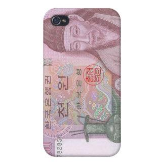 Caso ganado del iPhone de la moneda 1000 surcorean iPhone 4 Protectores