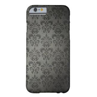 Caso gótico del iPhone 6 del damasco floral negro Funda De iPhone 6 Barely There